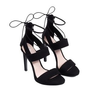 Zara Trafaluc Suede Stiletto Open Toe Sandals